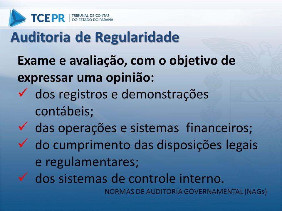 Exame e avaliação, com o objetivo de expressar uma opinião:  dos registros e demonstrações contábeis;  das operações e sistemas financeiros;  do cu