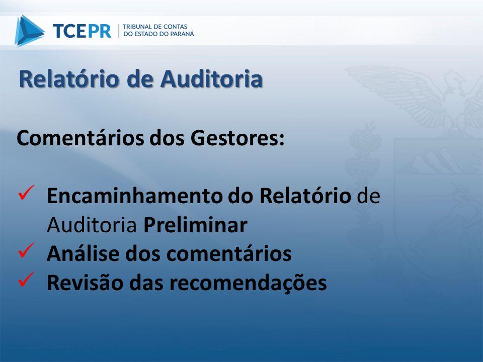 Comentários dos Gestores:  Encaminhamento do Relatório de Auditoria Preliminar  Análise dos comentários  Revisão das recomendações Relatório de Aud