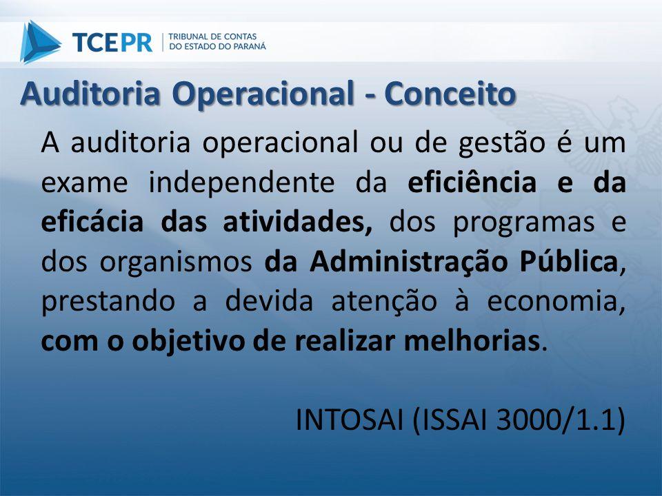 A auditoria operacional ou de gestão é um exame independente da eficiência e da eficácia das atividades, dos programas e dos organismos da Administraç