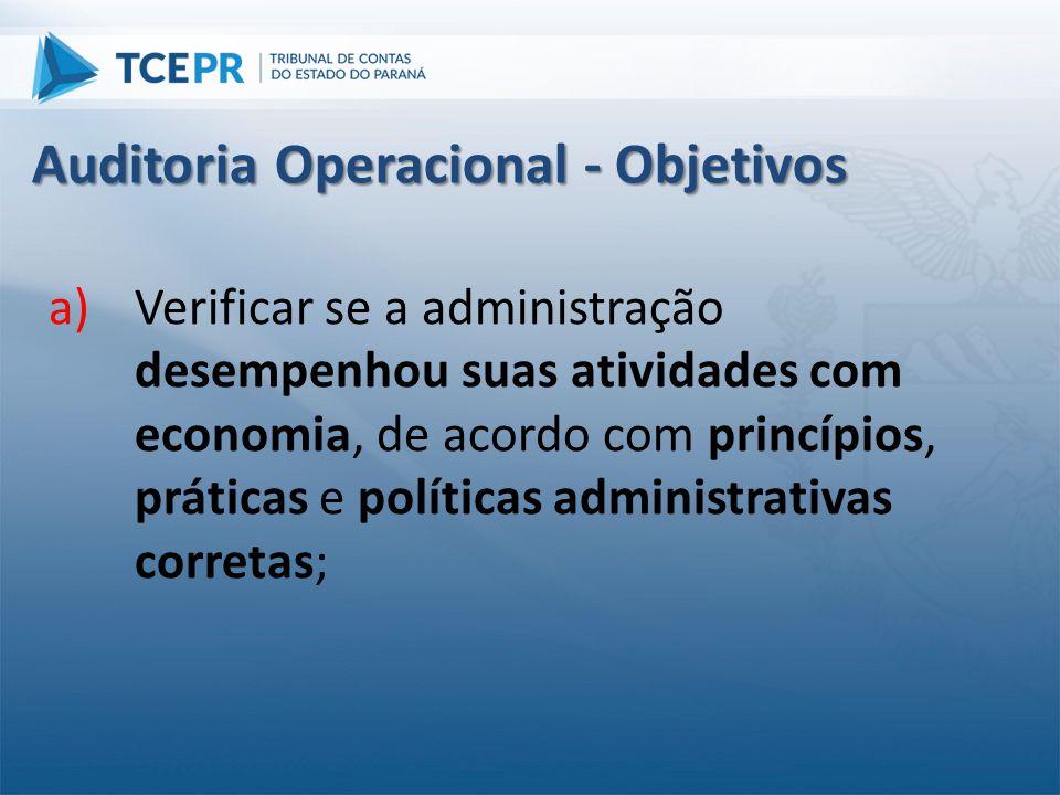 a)Verificar se a administração desempenhou suas atividades com economia, de acordo com princípios, práticas e políticas administrativas corretas; Audi