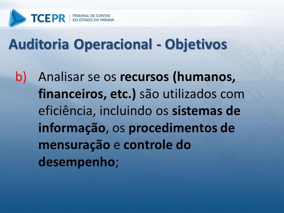 b)Analisar se os recursos (humanos, financeiros, etc.) são utilizados com eficiência, incluindo os sistemas de informação, os procedimentos de mensura