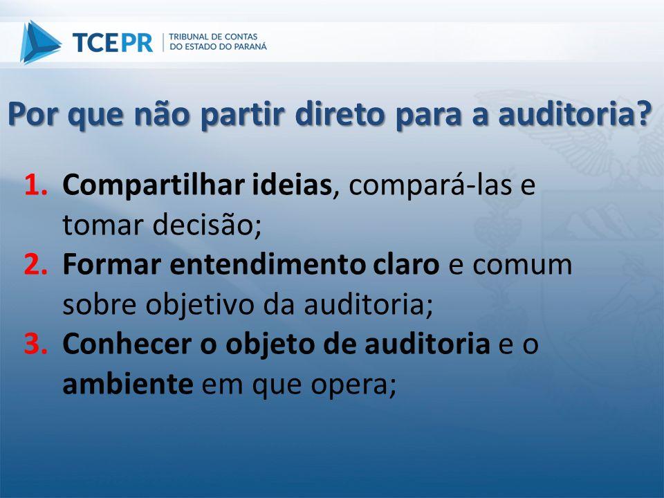 1.Compartilhar ideias, compará-las e tomar decisão; 2.Formar entendimento claro e comum sobre objetivo da auditoria; 3.Conhecer o objeto de auditoria