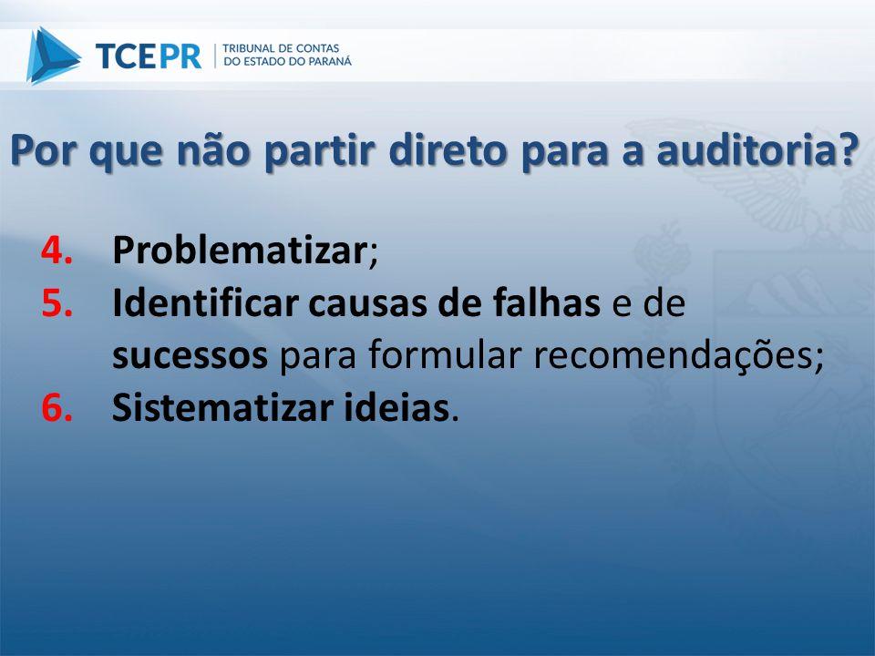 4.Problematizar; 5.Identificar causas de falhas e de sucessos para formular recomendações; 6.Sistematizar ideias. Por que não partir direto para a aud