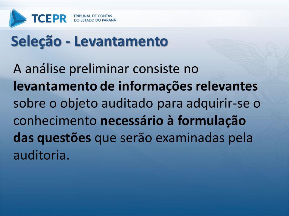 A análise preliminar consiste no levantamento de informações relevantes sobre o objeto auditado para adquirir-se o conhecimento necessário à formulaçã