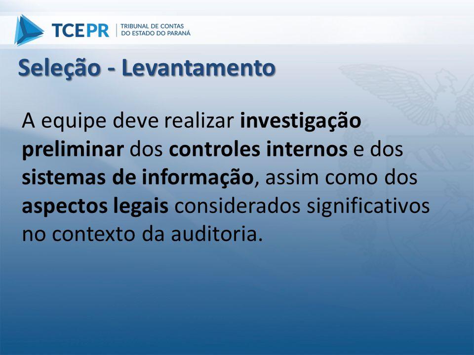 A equipe deve realizar investigação preliminar dos controles internos e dos sistemas de informação, assim como dos aspectos legais considerados signif
