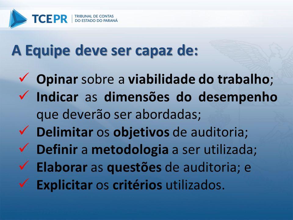  Opinar sobre a viabilidade do trabalho;  Indicar as dimensões do desempenho que deverão ser abordadas;  Delimitar os objetivos de auditoria;  Def