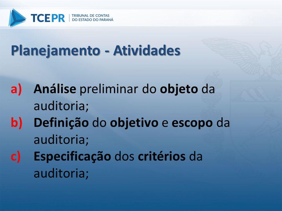 a)Análise preliminar do objeto da auditoria; b)Definição do objetivo e escopo da auditoria; c)Especificação dos critérios da auditoria; Planejamento -