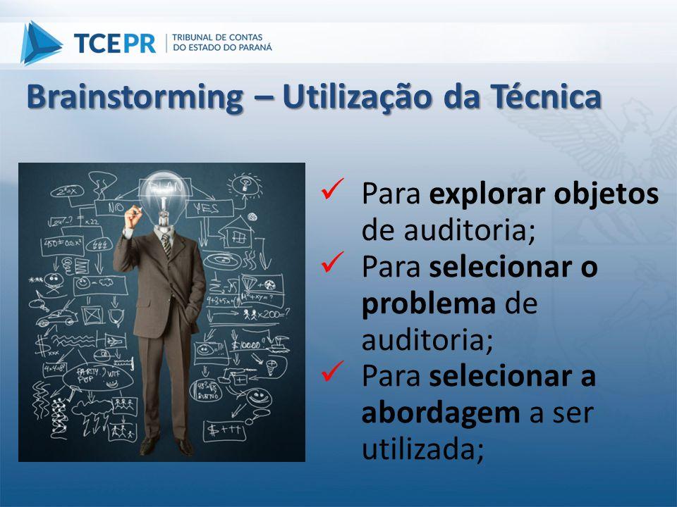  Para explorar objetos de auditoria;  Para selecionar o problema de auditoria;  Para selecionar a abordagem a ser utilizada; Brainstorming – Utiliz