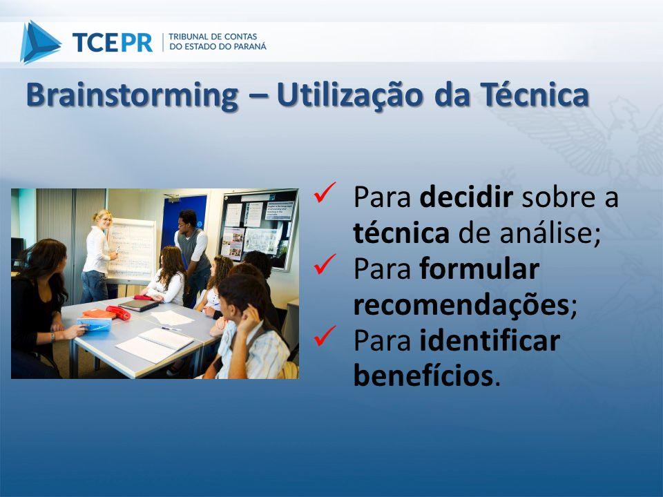  Para decidir sobre a técnica de análise;  Para formular recomendações;  Para identificar benefícios. Brainstorming – Utilização da Técnica