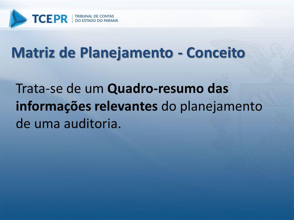 Trata-se de um Quadro-resumo das informações relevantes do planejamento de uma auditoria. Matriz de Planejamento - Conceito