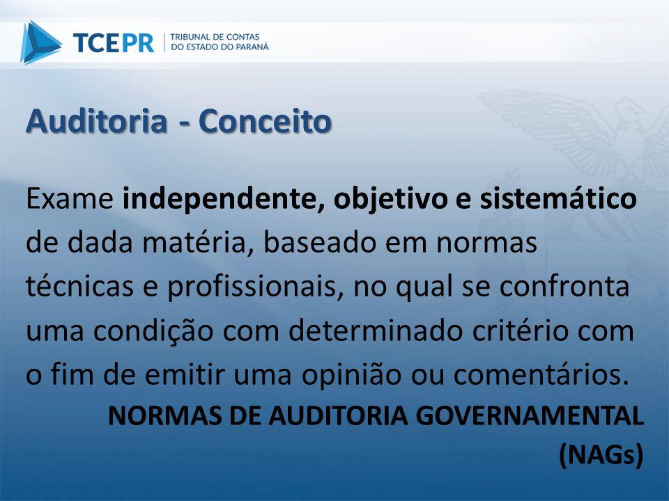 Auditoria - Conceito Exame independente, objetivo e sistemático de dada matéria, baseado em normas técnicas e profissionais, no qual se confronta uma