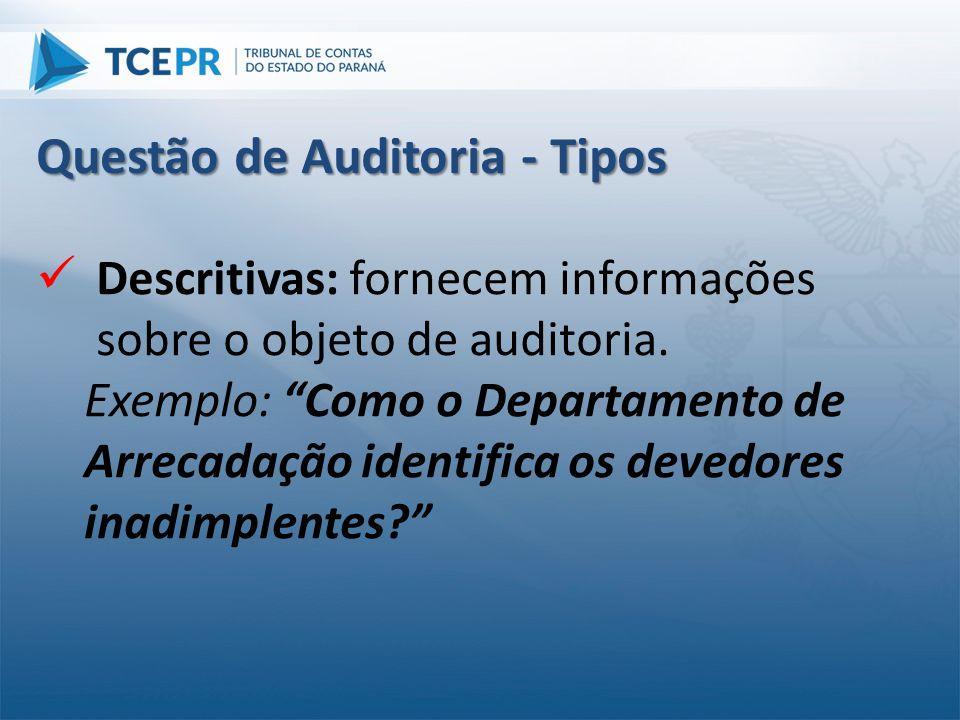 """ Descritivas: fornecem informações sobre o objeto de auditoria. Exemplo: """"Como o Departamento de Arrecadação identifica os devedores inadimplentes?"""""""