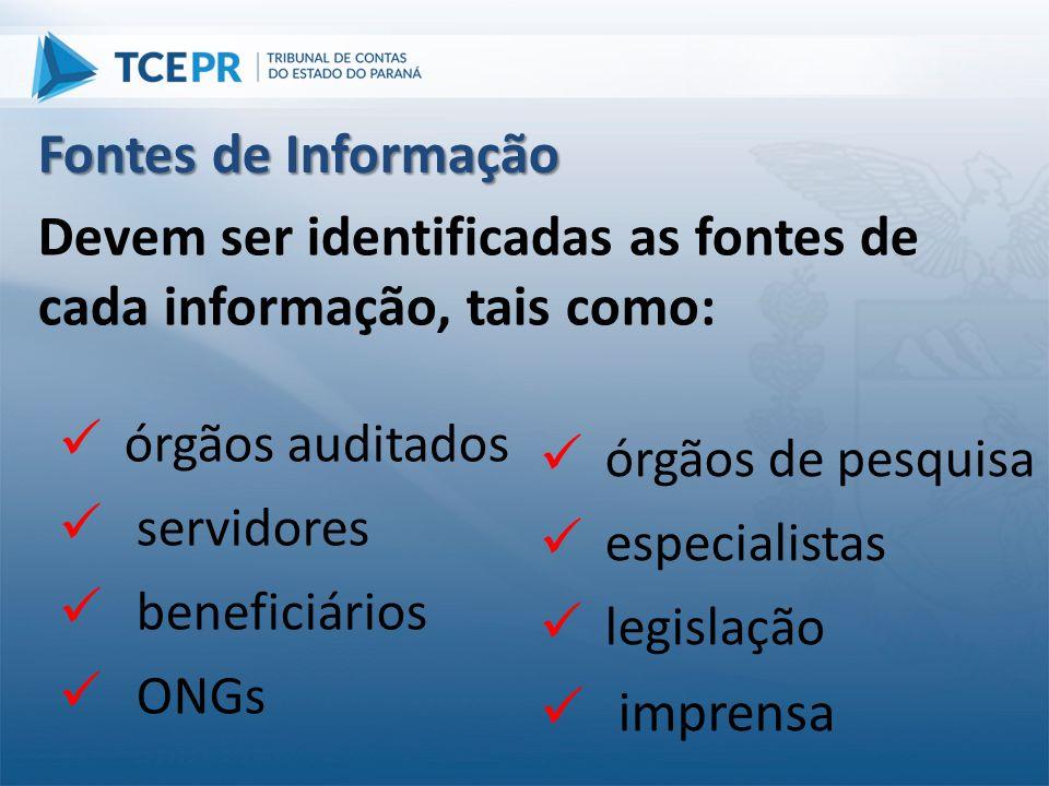 Fontes de Informação  órgãos de pesquisa  especialistas  legislação  imprensa Devem ser identificadas as fontes de cada informação, tais como:  ó