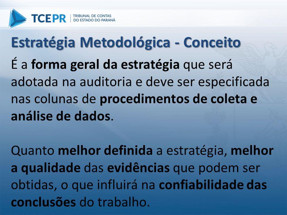 É a forma geral da estratégia que será adotada na auditoria e deve ser especificada nas colunas de procedimentos de coleta e análise de dados. Quanto