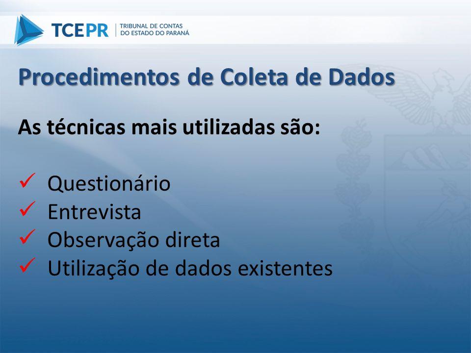 As técnicas mais utilizadas são:  Questionário  Entrevista  Observação direta  Utilização de dados existentes Procedimentos de Coleta de Dados