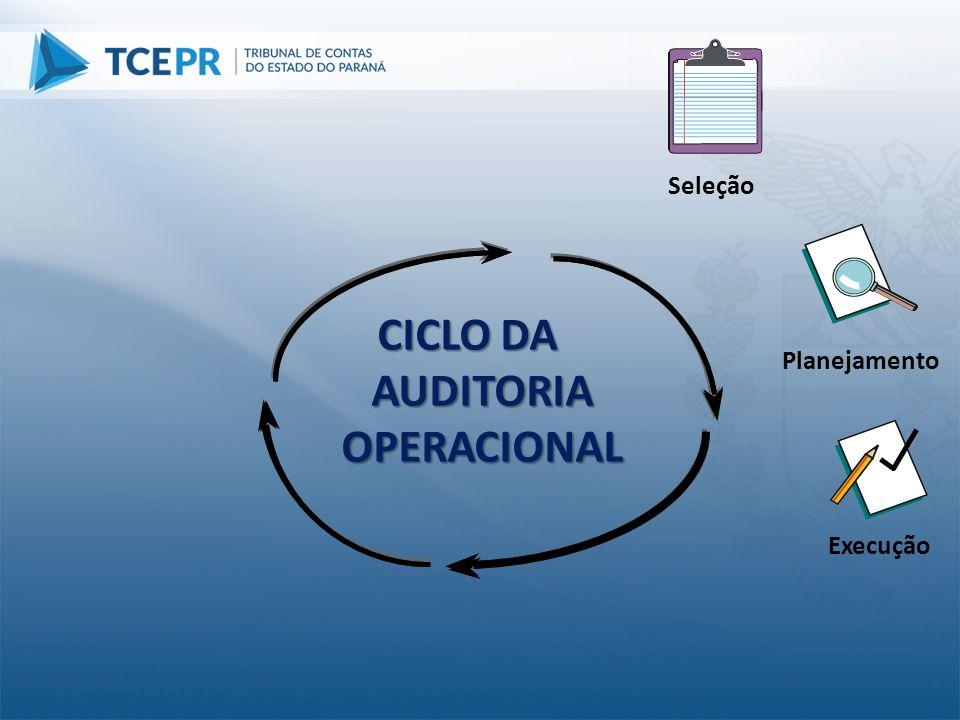 Planejamento Execução CICLO DA AUDITORIA OPERACIONAL Seleção