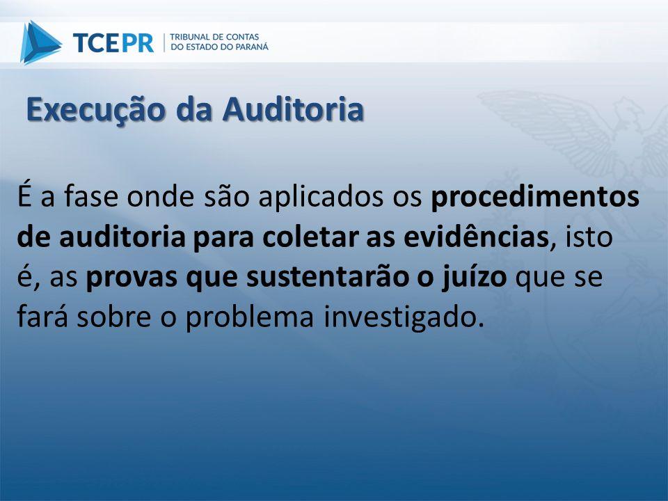 É a fase onde são aplicados os procedimentos de auditoria para coletar as evidências, isto é, as provas que sustentarão o juízo que se fará sobre o pr