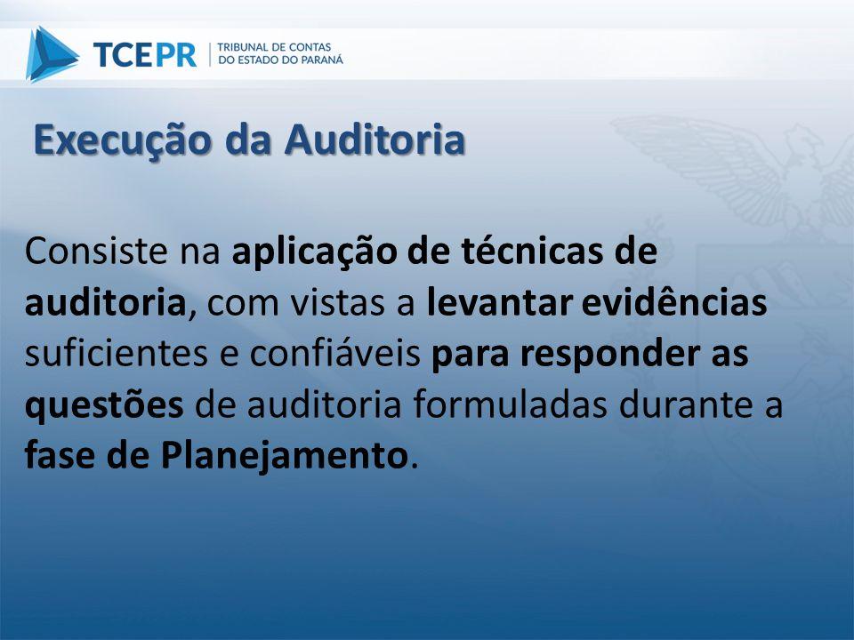 Consiste na aplicação de técnicas de auditoria, com vistas a levantar evidências suficientes e confiáveis para responder as questões de auditoria form