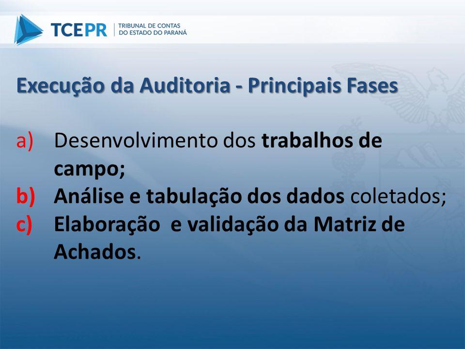 a)Desenvolvimento dos trabalhos de campo; b)Análise e tabulação dos dados coletados; c)Elaboração e validação da Matriz de Achados. Execução da Audito