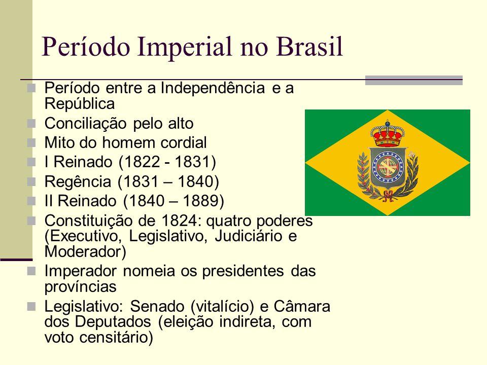 Período Imperial no Brasil  Período entre a Independência e a República  Conciliação pelo alto  Mito do homem cordial  I Reinado (1822 - 1831)  R