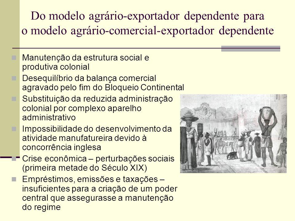 Do modelo agrário-exportador dependente para o modelo agrário-comercial-exportador dependente  Manutenção da estrutura social e produtiva colonial 