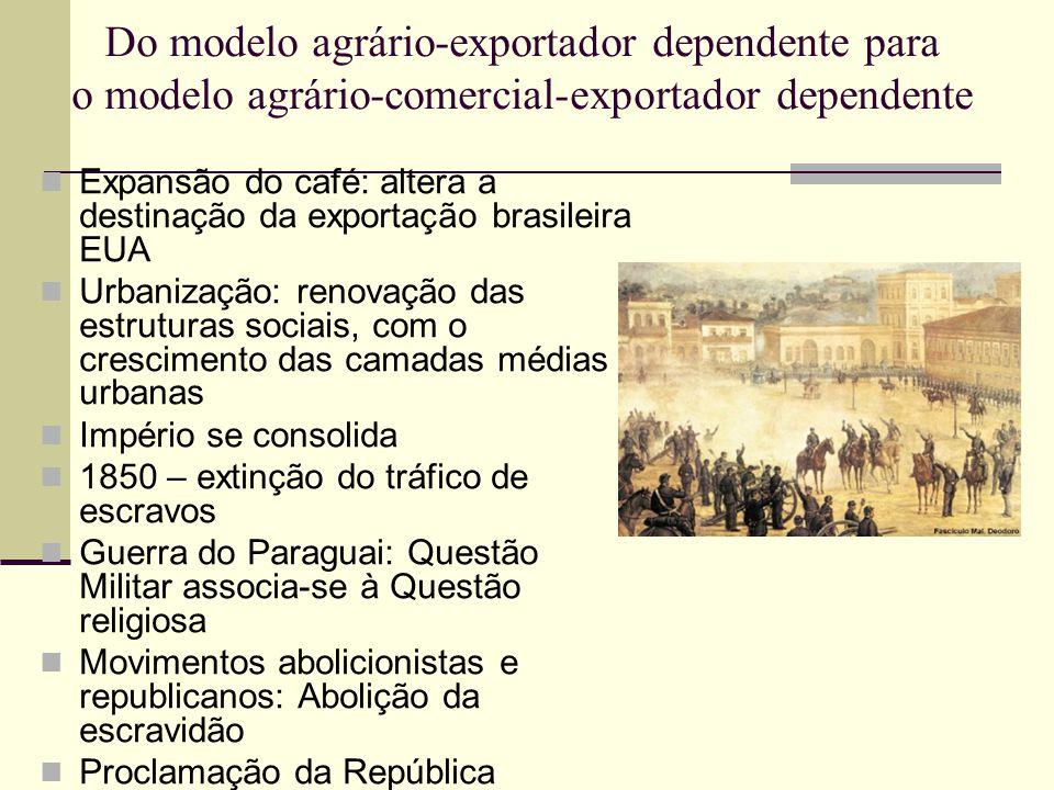 Do modelo agrário-exportador dependente para o modelo agrário-comercial-exportador dependente  Expansão do café: altera a destinação da exportação br