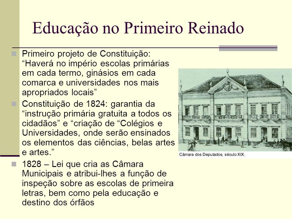 """Educação no Primeiro Reinado  Primeiro projeto de Constituição: """"Haverá no império escolas primárias em cada termo, ginásios em cada comarca e univer"""