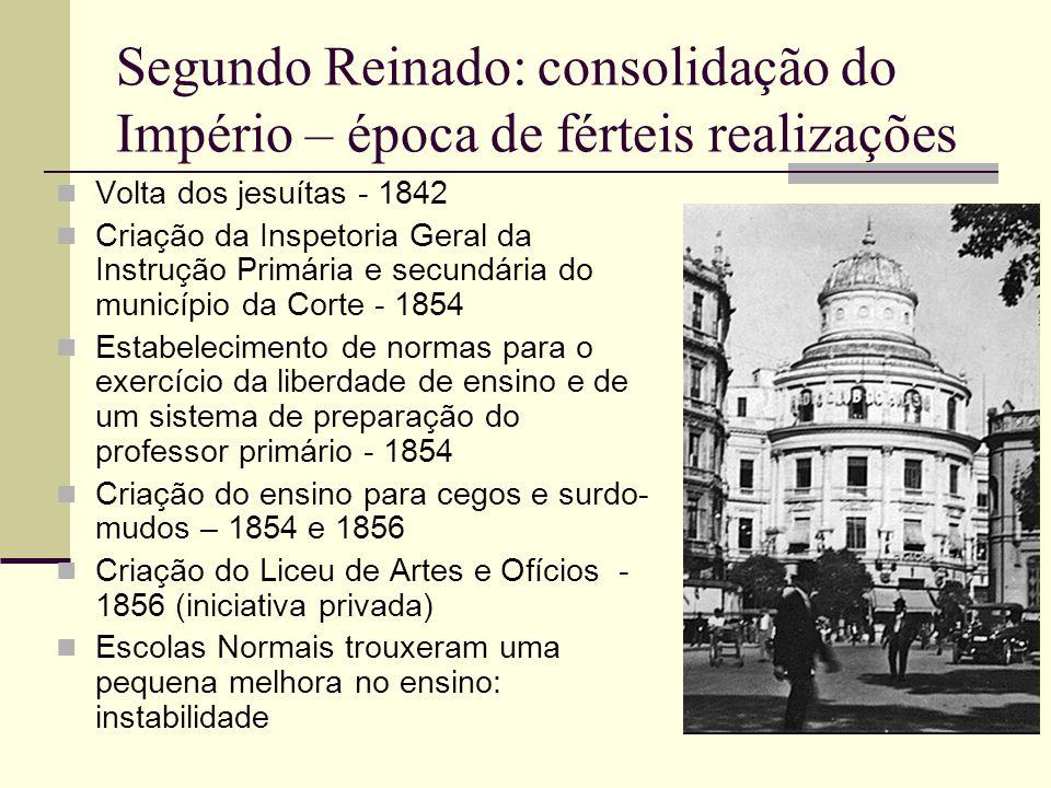 Segundo Reinado: consolidação do Império – época de férteis realizações  Volta dos jesuítas - 1842  Criação da Inspetoria Geral da Instrução Primári