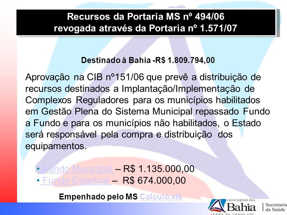 Recursos da Portaria MS nº 494/06 revogada através da Portaria nº 1.571/07 Recursos da Portaria MS nº 494/06 revogada através da Portaria nº 1.571/07