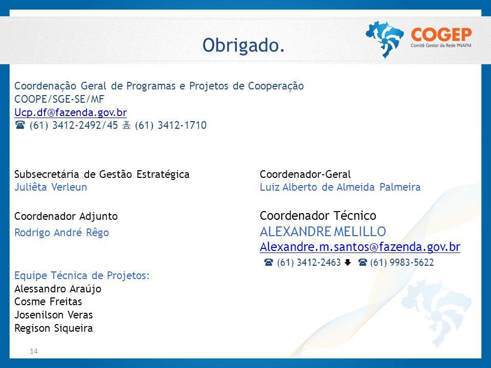 14 Obrigado. Coordenação Geral de Programas e Projetos de Cooperação COOPE/SGE-SE/MF Ucp.df@fazenda.gov.br  (61) 3412-2492/45  (61) 3412-1710 Subsec