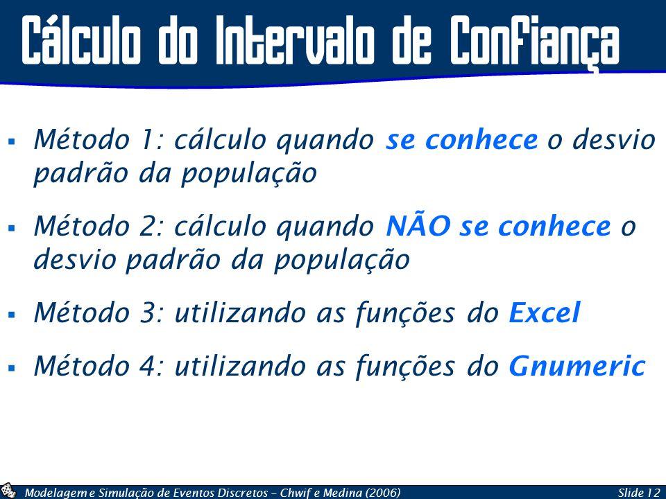 Modelagem e Simulação de Eventos Discretos – Chwif e Medina (2006)Slide 12 Cálculo do Intervalo de Confiança  Método 1: cálculo quando se conhece o d