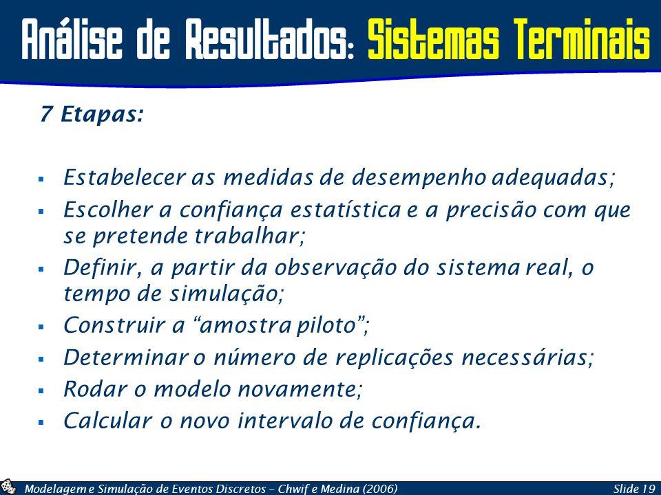 Modelagem e Simulação de Eventos Discretos – Chwif e Medina (2006)Slide 19 Análise de Resultados: Sistemas Terminais 7 Etapas:  Estabelecer as medida
