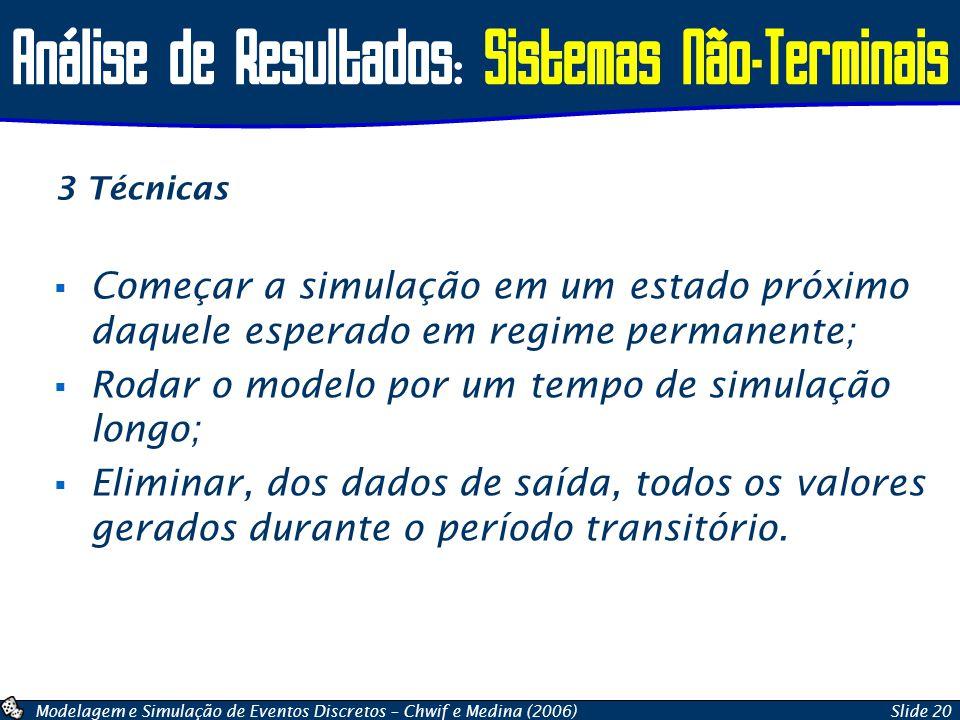 Modelagem e Simulação de Eventos Discretos – Chwif e Medina (2006)Slide 20 Análise de Resultados: Sistemas Não-Terminais 3 Técnicas  Começar a simula