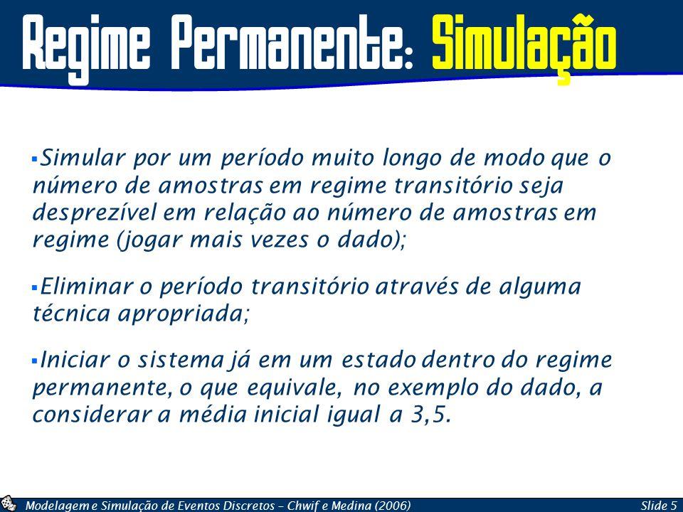 Modelagem e Simulação de Eventos Discretos – Chwif e Medina (2006)Slide 16 Cálculo do Intervalo de Confiança  Método 4: utilizando as funções do Gnumeric Gnumeric CONFIDENCE(nível se significância,desvio padrão da população,tamanho da amostra) Compatível com o Excel