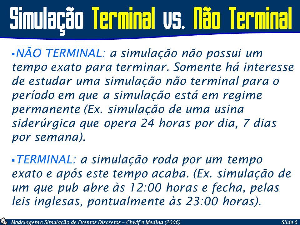 Modelagem e Simulação de Eventos Discretos – Chwif e Medina (2006)Slide 6 Simulação Terminal vs. Não Terminal  NÃO TERMINAL: a simulação não possui u