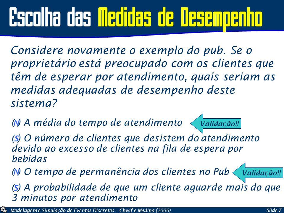 Modelagem e Simulação de Eventos Discretos – Chwif e Medina (2006)Slide 7 Escolha das Medidas de Desempenho Considere novamente o exemplo do pub. Se o