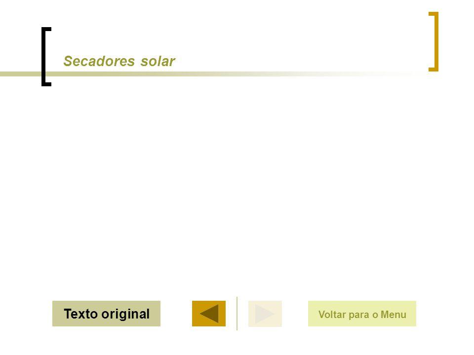 SairTexto original Secadores solar Voltar para o Menu