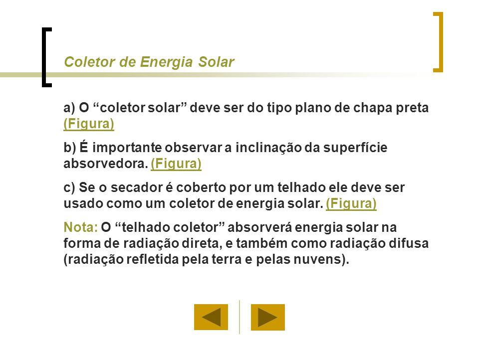 """Coletor de Energia Solar a) O """"coletor solar"""" deve ser do tipo plano de chapa preta (Figura) (Figura) b) É importante observar a inclinação da superfí"""