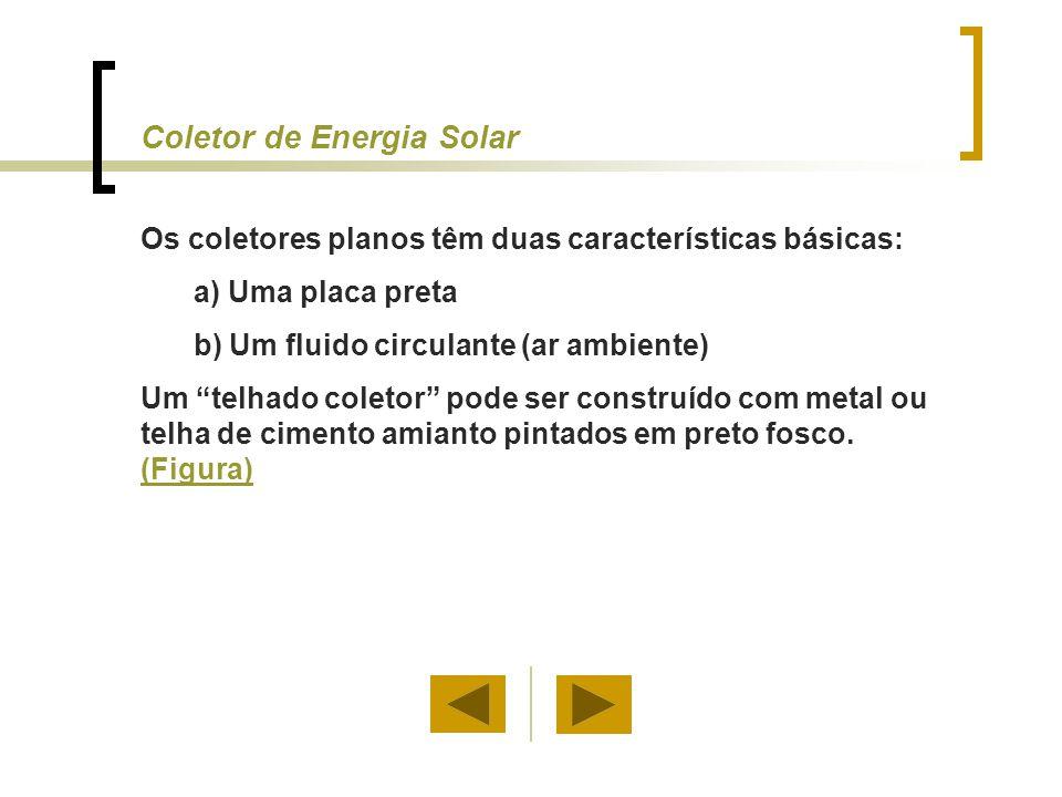 """Coletor de Energia Solar Os coletores planos têm duas características básicas: a) Uma placa preta b) Um fluido circulante (ar ambiente) Um """"telhado co"""