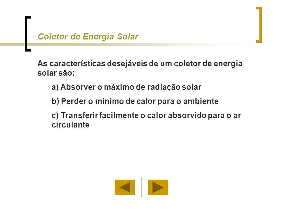 Coletor de Energia Solar As características desejáveis de um coletor de energia solar são: a) Absorver o máximo de radiação solar b) Perder o mínimo d