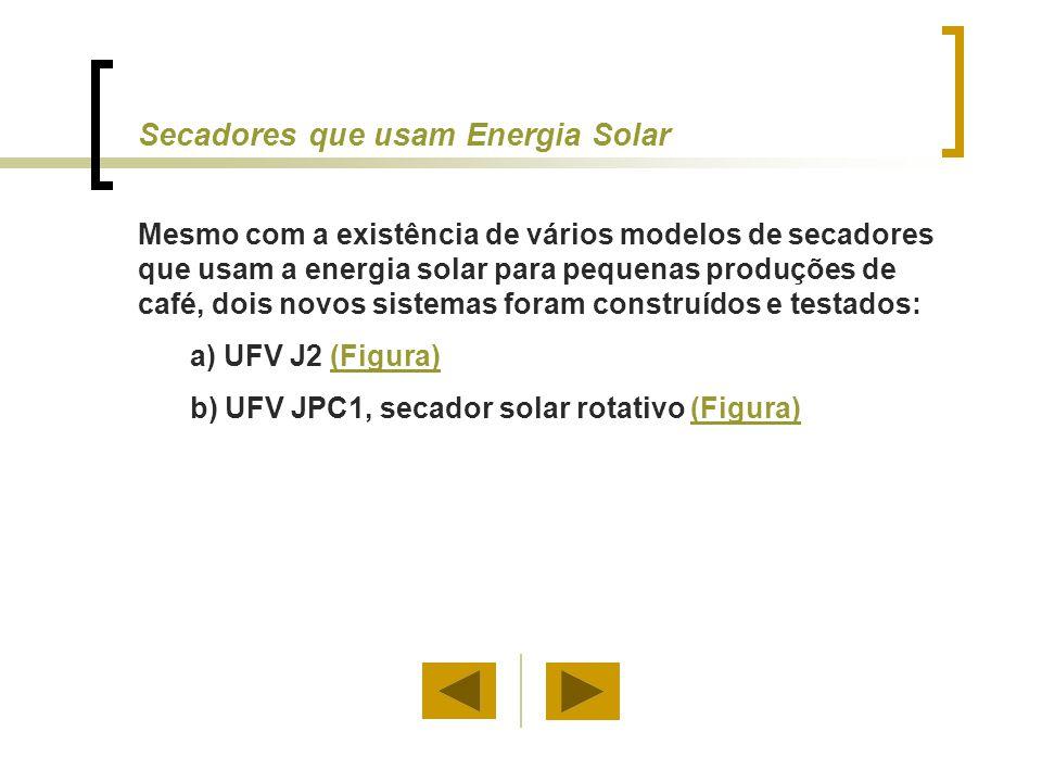 Secadores que usam Energia Solar Mesmo com a existência de vários modelos de secadores que usam a energia solar para pequenas produções de café, dois