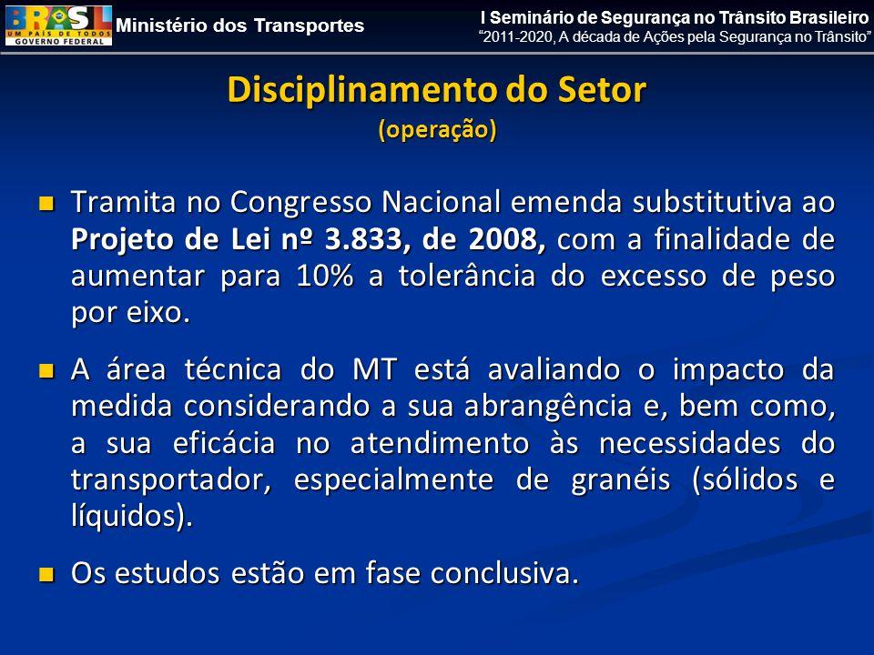 Ministério dos Transportes I Seminário de Segurança no Trânsito Brasileiro 2011-2020, A década de Ações pela Segurança no Trânsito Disciplinamento do Setor (operação)  Tramita no Congresso Nacional emenda substitutiva ao Projeto de Lei nº 3.833, de 2008, com a finalidade de aumentar para 10% a tolerância do excesso de peso por eixo.