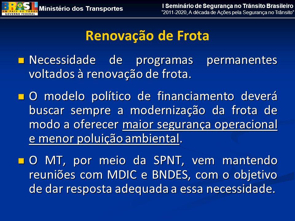 Ministério dos Transportes I Seminário de Segurança no Trânsito Brasileiro 2011-2020, A década de Ações pela Segurança no Trânsito Renovação de Frota  Necessidade de programas permanentes voltados à renovação de frota.