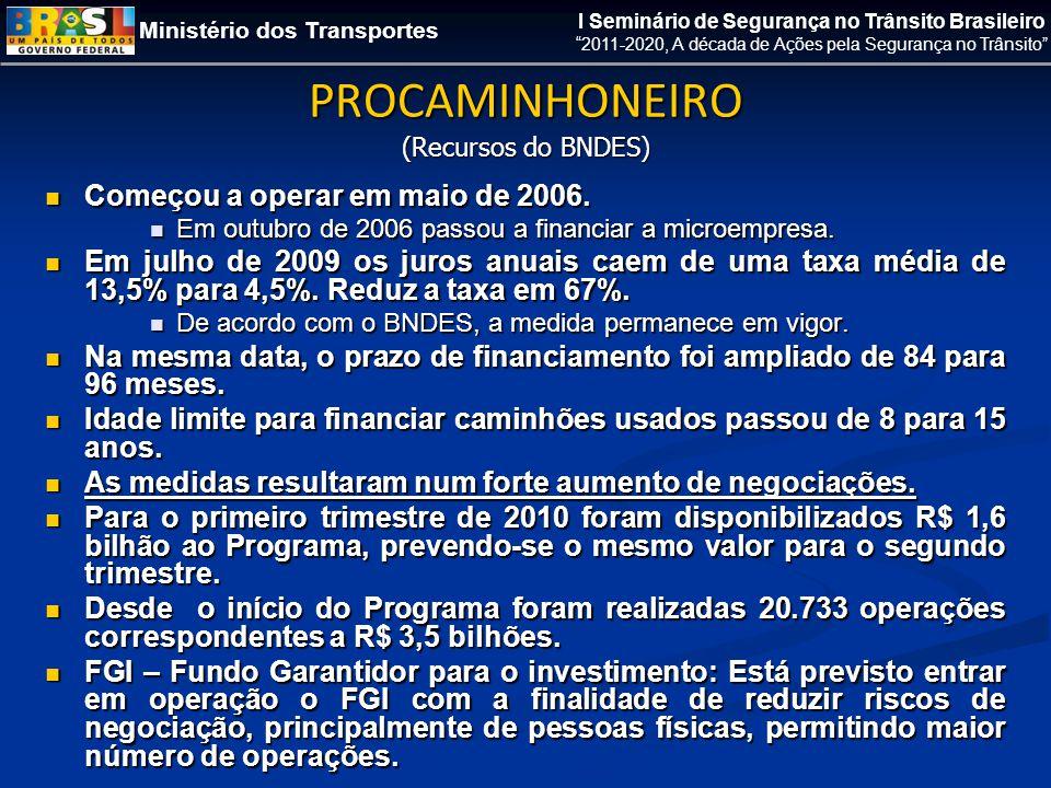 Ministério dos Transportes I Seminário de Segurança no Trânsito Brasileiro 2011-2020, A década de Ações pela Segurança no Trânsito PROCAMINHONEIRO (Recursos do BNDES)  Começou a operar em maio de 2006.
