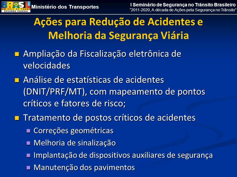 Ministério dos Transportes I Seminário de Segurança no Trânsito Brasileiro 2011-2020, A década de Ações pela Segurança no Trânsito Ações para Redução de Acidentes e Melhoria da Segurança Viária  Ampliação da Fiscalização eletrônica de velocidades  Análise de estatísticas de acidentes (DNIT/PRF/MT), com mapeamento de pontos críticos e fatores de risco;  Tratamento de postos críticos de acidentes  Correções geométricas  Melhoria de sinalização  Implantação de dispositivos auxiliares de segurança  Manutenção dos pavimentos