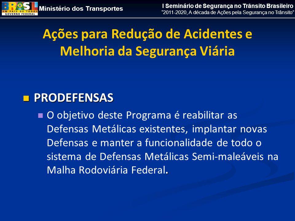 Ministério dos Transportes I Seminário de Segurança no Trânsito Brasileiro 2011-2020, A década de Ações pela Segurança no Trânsito  PRODEFENSAS .