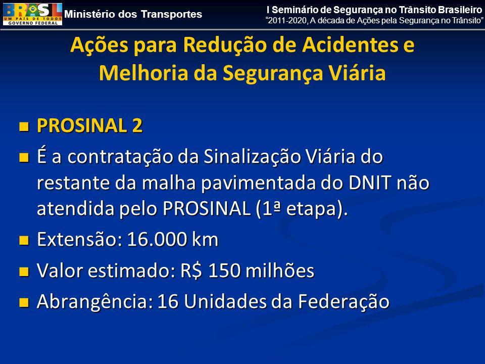 Ministério dos Transportes I Seminário de Segurança no Trânsito Brasileiro 2011-2020, A década de Ações pela Segurança no Trânsito  PROSINAL 2  É a contratação da Sinalização Viária do restante da malha pavimentada do DNIT não atendida pelo PROSINAL (1ª etapa).