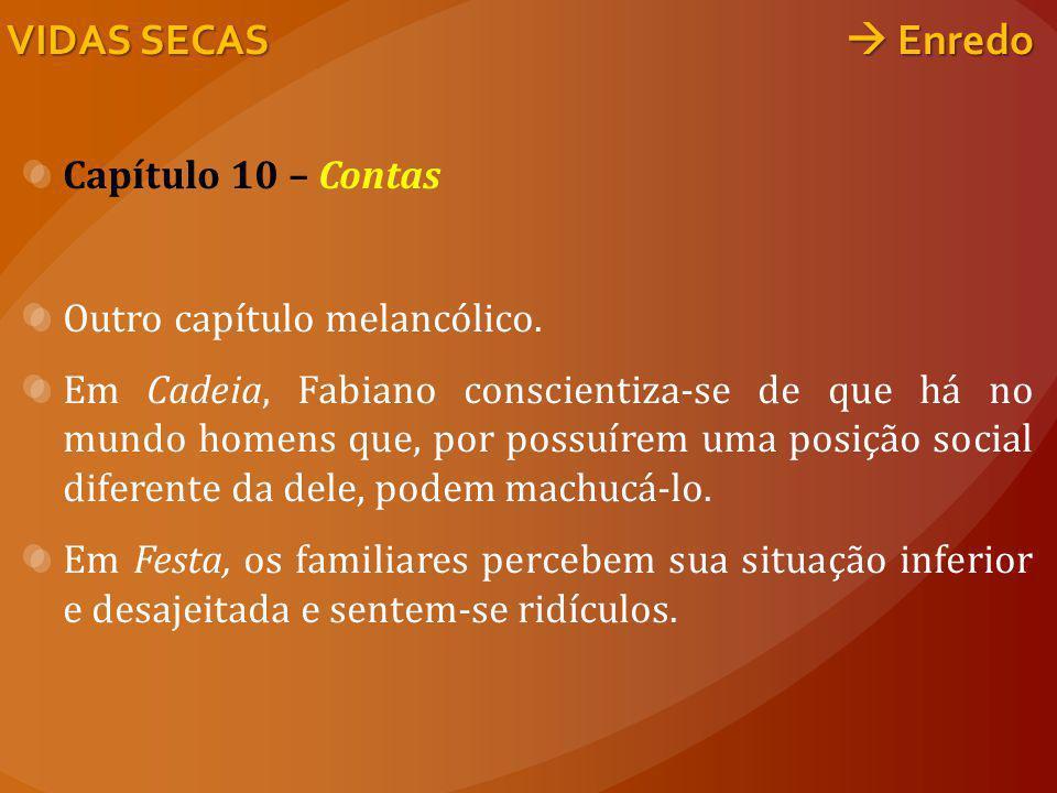 Capítulo 10 – Contas Outro capítulo melancólico. Em Cadeia, Fabiano conscientiza-se de que há no mundo homens que, por possuírem uma posição social di