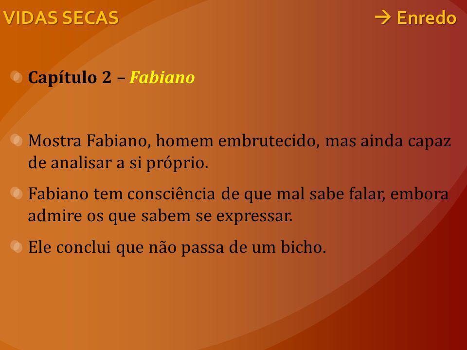 VIDAS SECAS  Enredo Capítulo 2 – Fabiano Mostra Fabiano, homem embrutecido, mas ainda capaz de analisar a si próprio. Fabiano tem consciência de que
