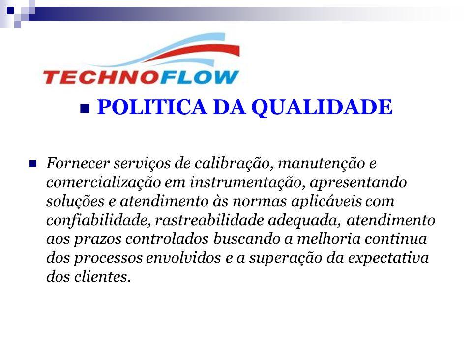  POLITICA DA QUALIDADE  Fornecer serviços de calibração, manutenção e comercialização em instrumentação, apresentando soluções e atendimento às norm